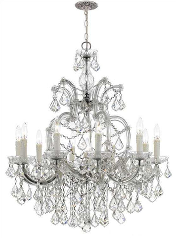 Crystorama 4438-CH-CL-SAQ Maria Theresa 11 Light Swarovski Spectra Chrome Chandelier - PeazzLighting