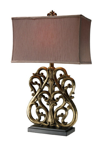Dimond D1842 Roseville Table Lamp In Oriole Gold With Meadavale Taupe Shade And Silver Liner - PeazzLighting