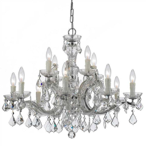 Crystorama 4379-CH-CL-MWP Maria Theresa 12 Light Clear Crystal Chrome Chandelier I - PeazzLighting