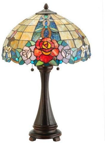 "Meyda Tiffany 138121 25""H Rose Vine Table Lamp - PeazzLighting"