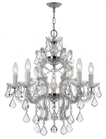 Crystorama 4335-CH-CL-MWP Maria Theresa 6 Light Crystal Chrome Chandelier - PeazzLighting