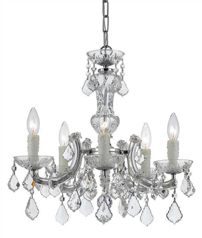 Crystorama 4376-CH-CL-SAQ Maria Theresa 5 Light Chrome Mini-Chandelier - PeazzLighting
