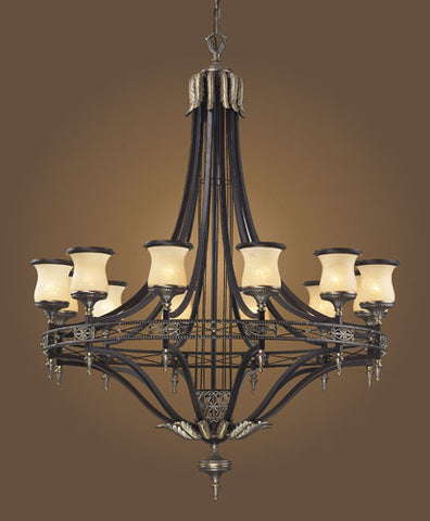 ELK Lighting Lighting 2434-12 Twelve Light Chandelier In Antique Bronze & Dark Umber And Marblized Amber Glass - PeazzLighting