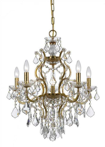 Crystorama 4455-GA-CL-SAQ Filmore 6 Light Spectra Crystal Gold Chandelier I - PeazzLighting