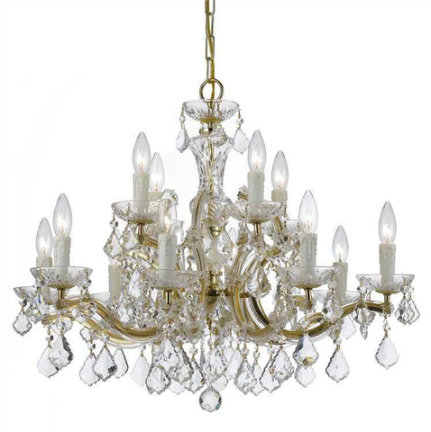 Crystorama 4379-GD-CL-SAQ Maria Theresa 12 Light Clear Crystal Gold Chandelier - PeazzLighting