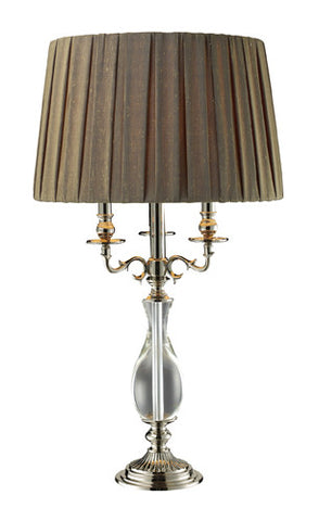 Dimond D1984 Deshler Table Lamp In Clear Crystal And Polished Nickel With Taupe Slubbed Faux Silk Shade And Beige Liner, Solid Brass Construction - PeazzLighting