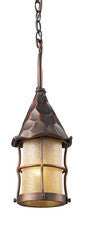 Landmark 388-AC Rustica One Light Outdoor Pendant in Antique Copper with Scavo Glass - PeazzLighting