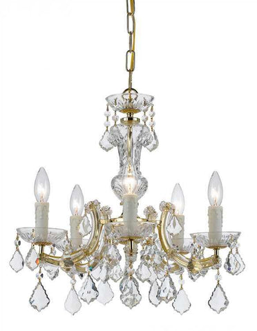 Crystorama 4376-GD-CL-S Maria Theresa 5 Light Gold Mini-Chandelier - PeazzLighting