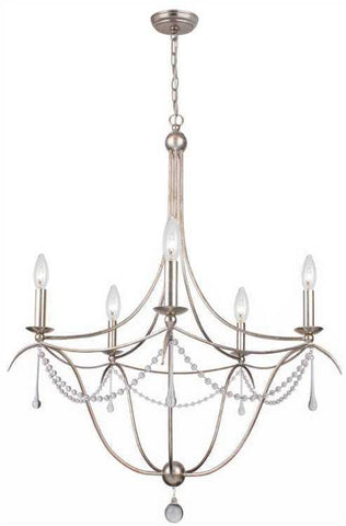 Crystorama 425-SA Metro 5 Light Crystal Beads Silver Chandelier II - PeazzLighting