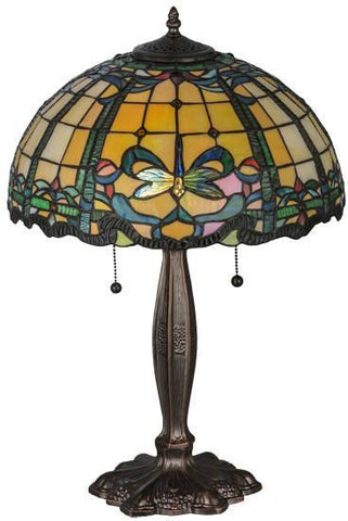"Meyda Tiffany 138585 24""H Tiffany Dragonfly Table Lamp - PeazzLighting"
