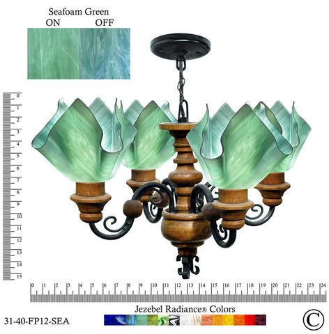 Jezebel Radiance® Flame Vineyard Chandelier. Glass: Seafoam Green - PeazzLighting