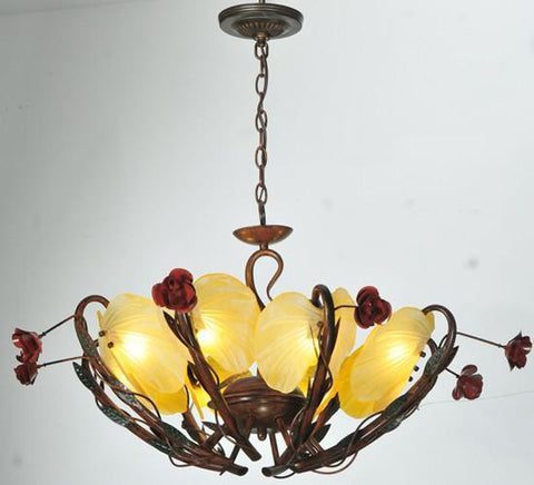 "Meyda Tiffany 82893 32""W Rose Coils 8 Lt Chandelier - PeazzLighting"