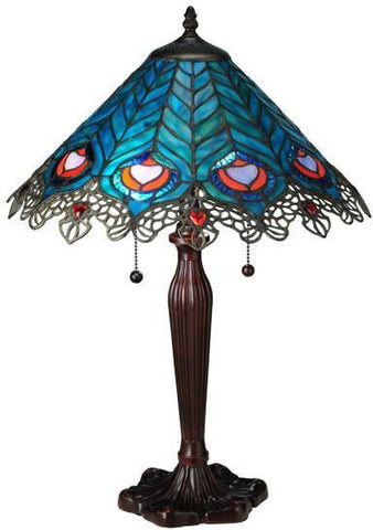 "Meyda Tiffany 138775 23""H Peacock Feather Lace Table Lamp - PeazzLighting"