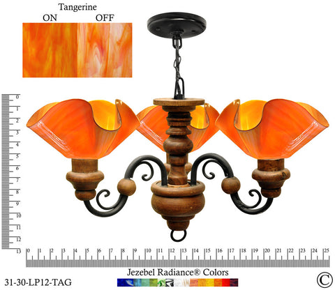 Jezebel Radiance® Floral Vineyard Chandelier. Glass: Tangerine - PeazzLighting