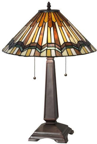 "Meyda Tiffany 143147 24""H Prairie Delta Table Lamp - PeazzLighting"