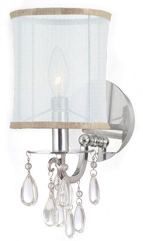 Crystorama 5621-CH 1-Lights Polished Chrome Wall Sconce Accented With Hand Cut Crystal And A Silk Shade - Polished Chrome - PeazzLighting