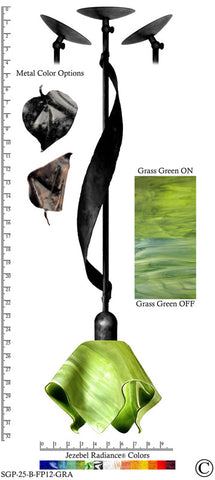 Jezebel Radiance® Sweetgrass Pendant. Hardware: Black. Glass: Grass Green, Flame Style - PeazzLighting
