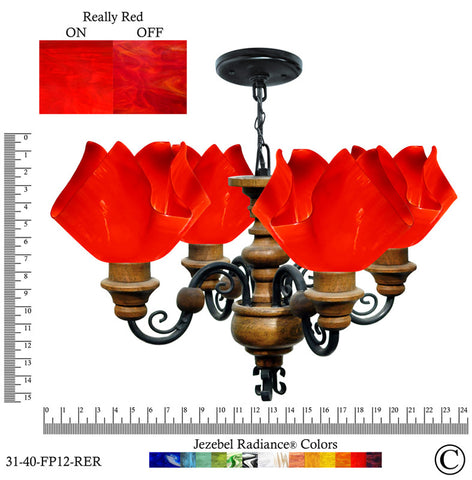 Jezebel Radiance® Flame Vineyard Chandelier. Glass: Really Red - PeazzLighting