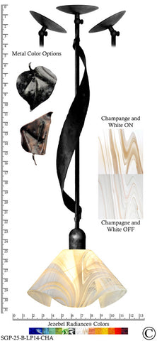 Jezebel Radiance® Sweetgrass Pendant. Hardware: Black. Glass: Champagne and White, Lily Style - PeazzLighting
