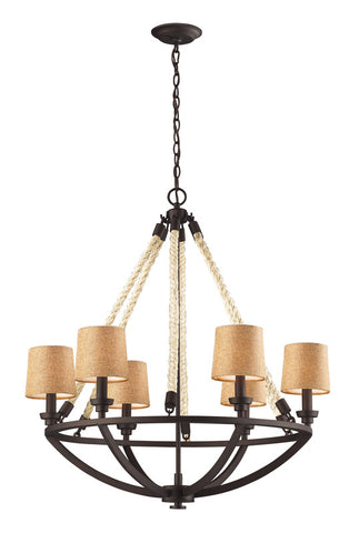 Landmark 63016-6 Natural Rope Aged Bronze Chandelier - PeazzLighting