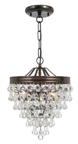 Crystorama 130-VZ Calypso 3 Light Crystal Teardrop Bronze Pendant - PeazzLighting