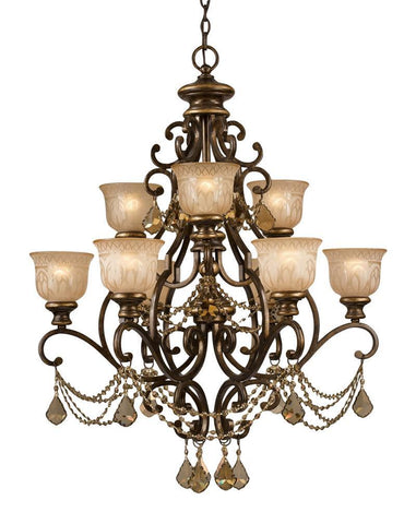 Crystorama Golden Teak Strass Crystal Draped on a Wrought Iron Chandelier Handpainted with a Amber Glass Pattern 6 Lights - Bronze Umber - 7509-BU-GTS - PeazzLighting