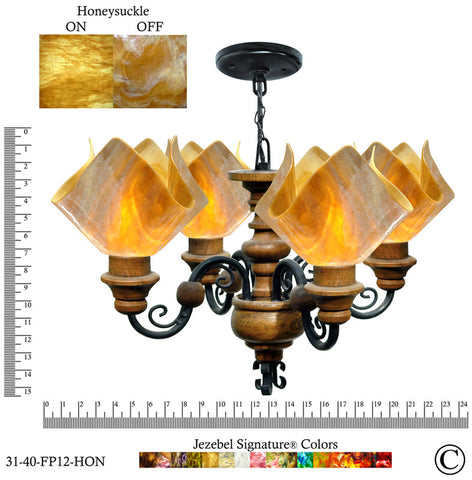 Jezebel Signature® Flame Vineyard Chandelier. Glass: Honeysuckle - PeazzLighting
