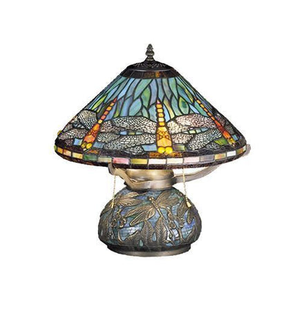 Meyda Tiffany 27159 Tiffany Dragonfly W/Tiffany Mosaic Base Table Lamp - PeazzLighting