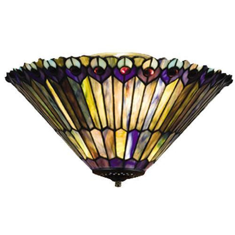 "Meyda Tiffany 13251 17""W Tiffany Jeweled Peacock Fan Light Fixture - PeazzLighting"
