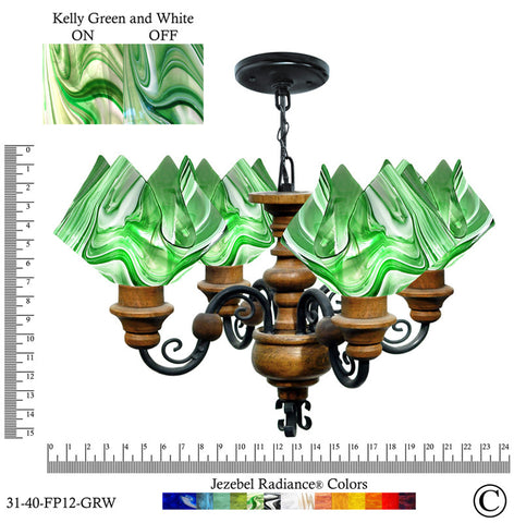 Jezebel Radiance® Flame Vineyard Chandelier. Glass: Kelly Green and White - PeazzLighting
