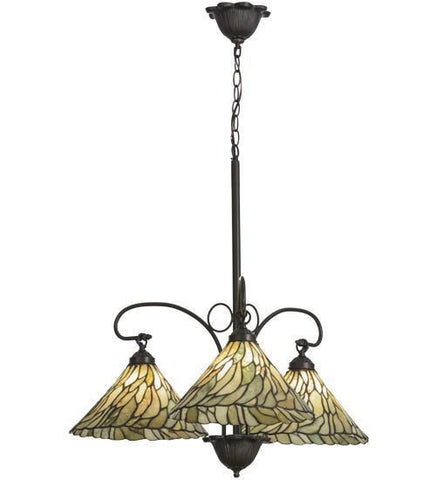 "Meyda Tiffany 153966 30""W Willow Jadestone 3 Lt Chandelier - PeazzLighting"
