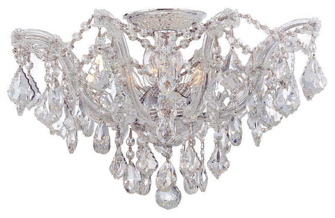 Crystorama 4437-CH-CL-MWP 5-Lights Maria Theresa Semi Flush Mount Draped In Clear Hand Cut Crystal - Polished Chrome - PeazzLighting