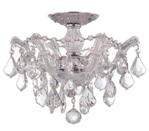 Crystorama 4430-CH-CL-MWP 3-Lights Maria Theresa Semi Flush Mount Draped In Clear Hand Cut Crystal - Polished Chrome - PeazzLighting