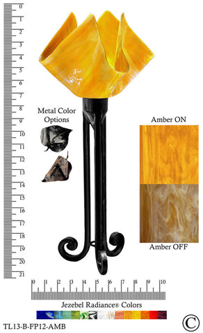 Jezebel Radiance® Torch Light. Hardware: Black. Glass: Amber, Flame Style - PeazzLighting