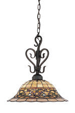 Landmark 362-VA Tiffany Buckingham One Light Pendant in Vintage Antique with Tiffany Style Glass - PeazzLighting