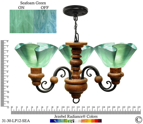 Jezebel Radiance® Floral Vineyard Chandelier. Glass: Seafoam Green - PeazzLighting