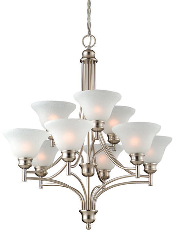 Design House 517136 517136 Bristol 9 Light Chandelier Satin Nickel - PeazzLighting