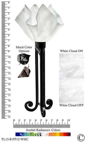 Jezebel Radiance® Torch Light. Hardware: Black. Glass: White Cloud, Flame Style - PeazzLighting