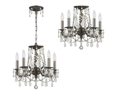 Crystorama Clear Hand Cut Crystal Wrought Iron Chandelier 5 Lights - Pewter - 5545-PW-CL-MWP - PeazzLighting