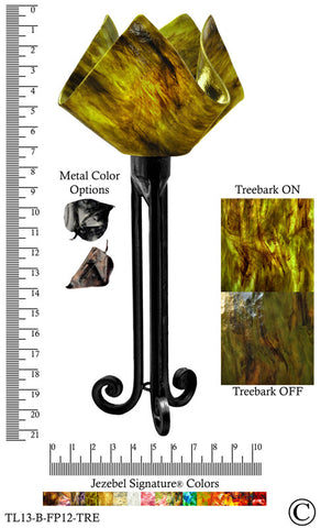 Jezebel Signature® Torch Light. Hardware: Black. Glass: Treebark, Flame Style - PeazzLighting