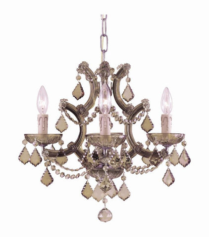 Crystorama 4474-AB-GT-MWP 4-Lights Maria Theresa Dual Mount Draped In Golden Teak Hand Cut Crystal. Semi Flush Or Mini Chandelier Application. - Antique Brass - PeazzLighting