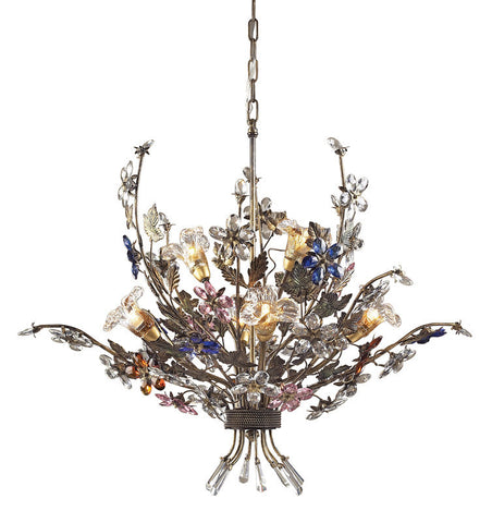 ELK Lighting Brillare 6 Light Chandelier In Bronzed Rust And Multi Colored Crystal Florets - 9107/4+2 - PeazzLighting