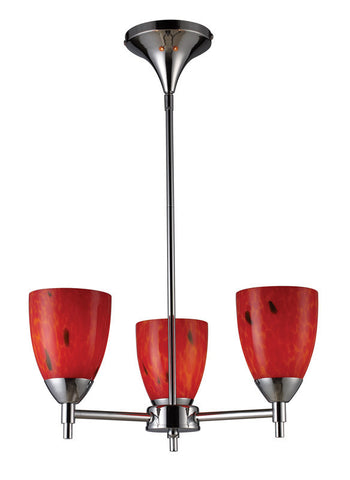 ELK Lighting Celina Celina 3-Light Chandelier In Polished Chrome And Fire Red Glass - 10154/3PC-FR - PeazzLighting