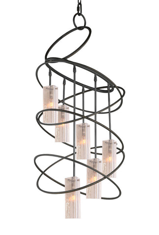 Woodbridge Lighting Loop 6-light Black Chandelier and Seedy Plated Amber Glass - PeazzLighting