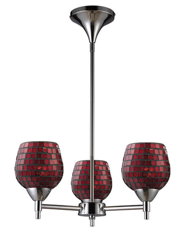 ELK Lighting Celina Celina 3-Light Chandelier In Polished Chrome And Copper Glass - 10154/3PC-CPR - PeazzLighting