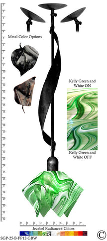 Jezebel Radiance® Sweetgrass Pendant. Hardware: Black. Glass: Kelly Green and White, Flame Style - PeazzLighting