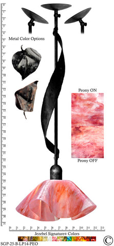 Jezebel Signature® Sweetgrass Pendant. Hardware: Black. Glass: Peony, Lily Style - PeazzLighting