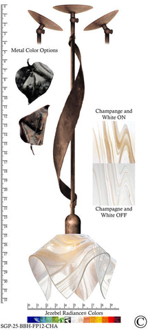Jezebel Radiance® Sweetgrass Pendant. Hardware: Brown with Brown Highlights. Glass: Champagne and White, Flame Style - PeazzLighting
