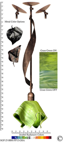 Jezebel Radiance® Sweetgrass Pendant. Hardware: Brown with Brown Highlights. Glass: Grass Green, Flame Style - PeazzLighting