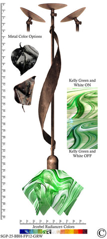 Jezebel Radiance® Sweetgrass Pendant. Hardware: Brown with Brown Highlights. Glass: Kelly Green and White, Flame Style - PeazzLighting